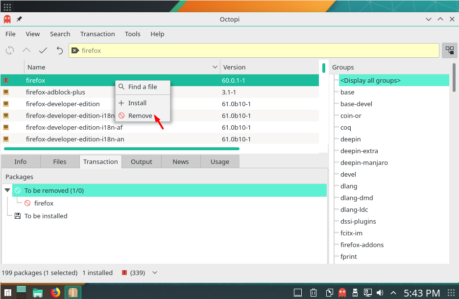 How to Install and Uninstall Softwares via Octopi on Manjaro